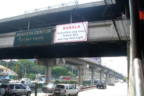 Actual yellow box signage along EDSA - P. Tuazon. Source: DPWH
