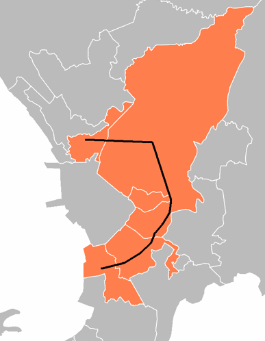 EDSA traversing the metropolitan. Source: https://upload.wikimedia.org/wikipedia/commons/b/b8/EDSA_route.PNG
