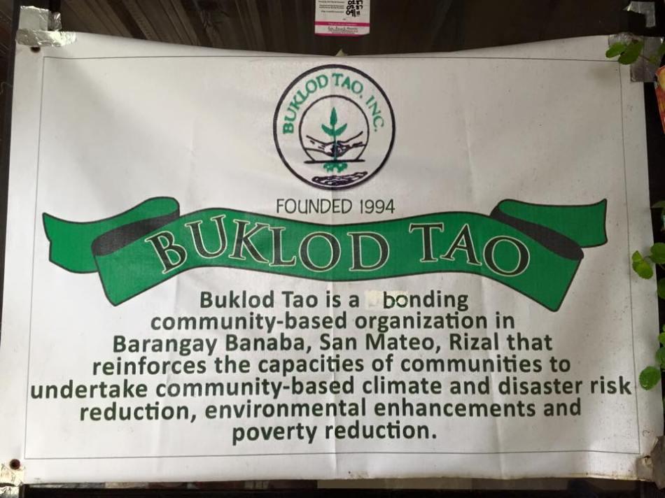 Buklod Tao welcome banner
